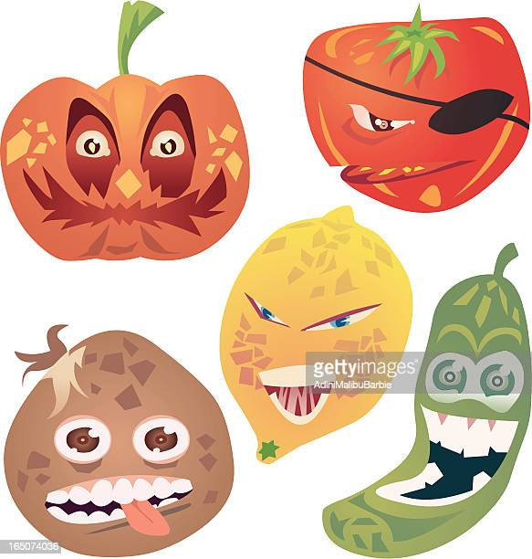 crazy veg i - ugliness stock illustrations, clip art, cartoons, & icons