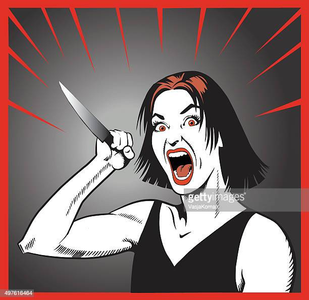 Crazy Woman Threatening With Knife