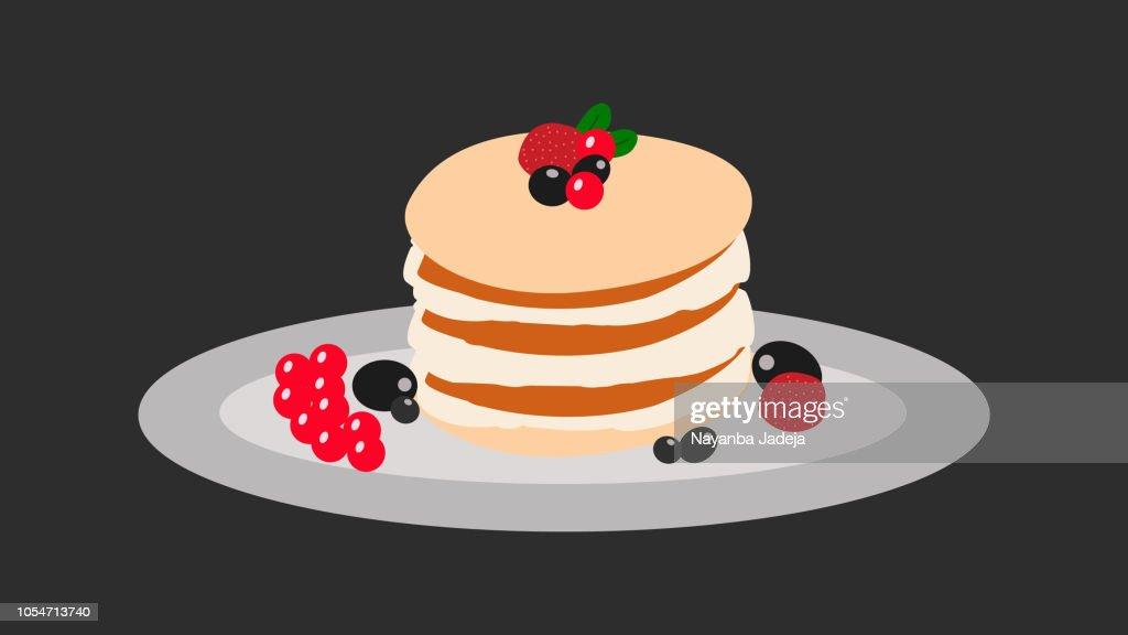 Creamy mascarpone cheese cake with strawberry and winter berries. New York Cheesecake. side view