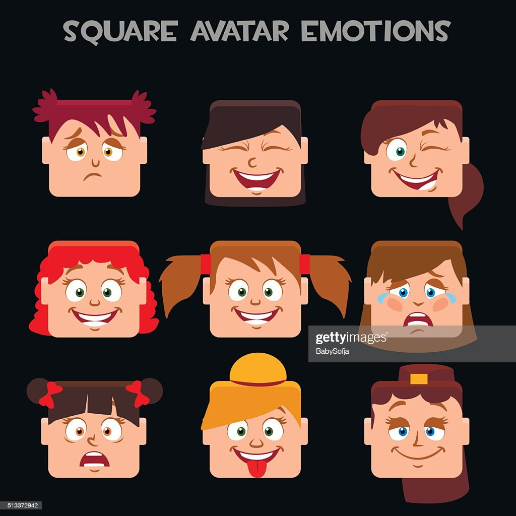 create a square avatar girl emotions