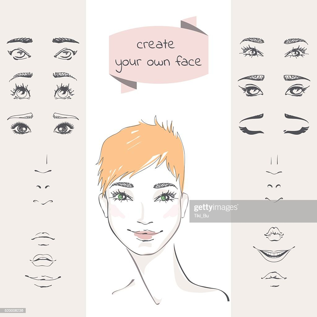 Create your own face. The set of elements of a woman's face