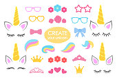 Create your own unicorn - big vector collection. Unicorn constructor. Cute unicorn face. Unicorn details - Horhs, eyelashes, ears, hairstyles, flowers, crowns, glasses, bows . Vector