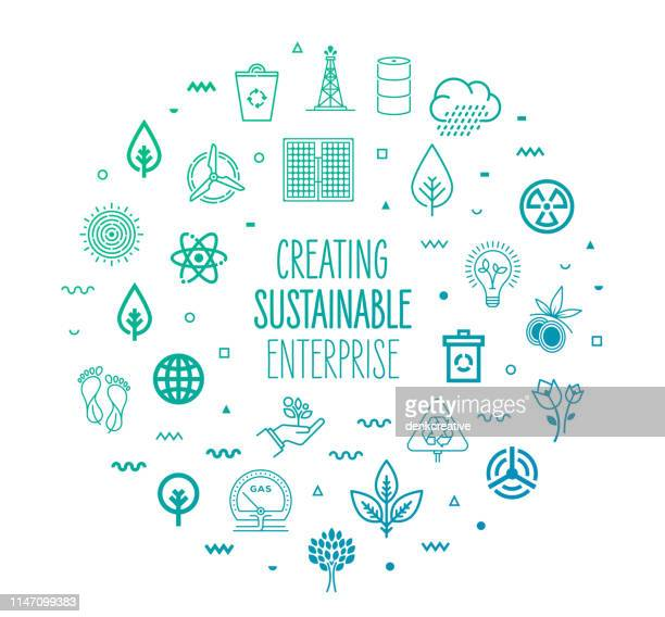 creating sustainable enterprises outline style infographic design - environment stock illustrations
