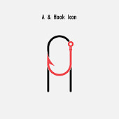 Creative A- Letter icon abstract and hook icon design vector template.Fishing hook icon.Alphabet icon.Vector illustration