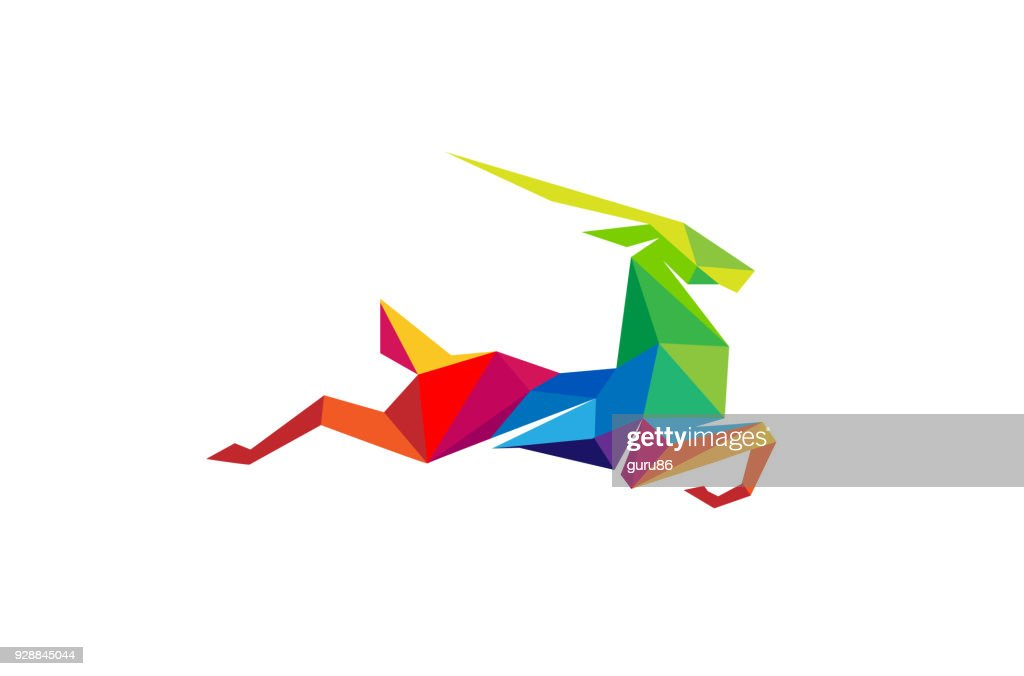 Creative Abstract Colorful Gazelle symbol