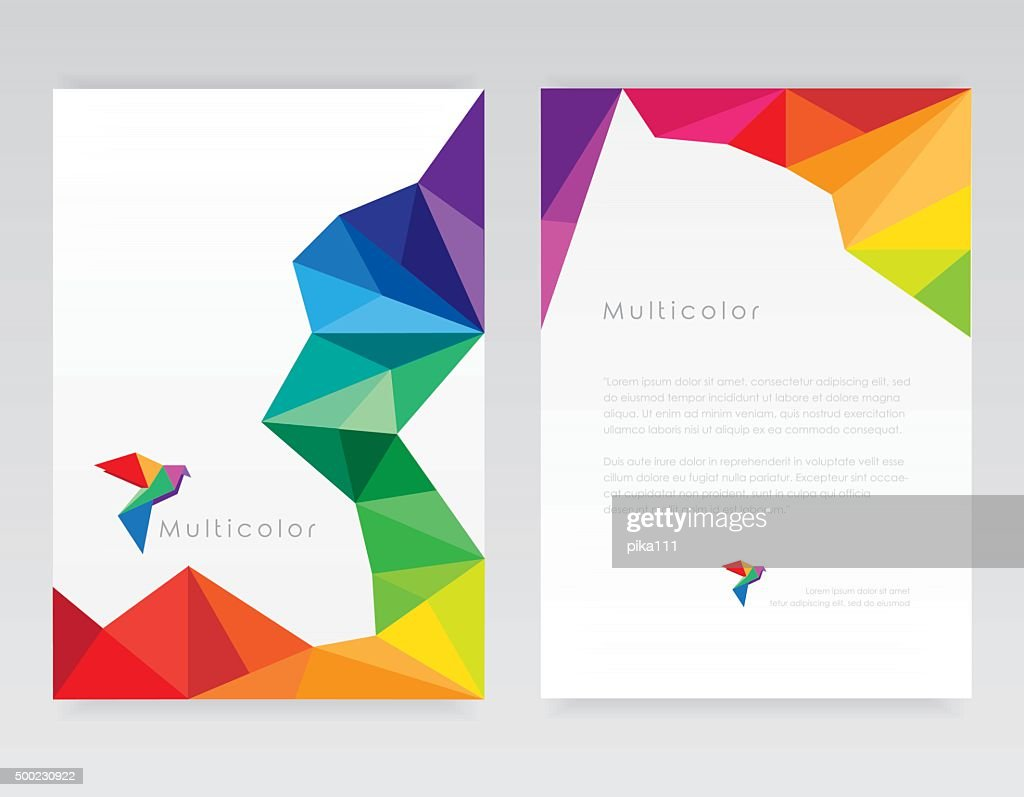 Creative abstract geometric multicolored letterhead template mockups with bird element
