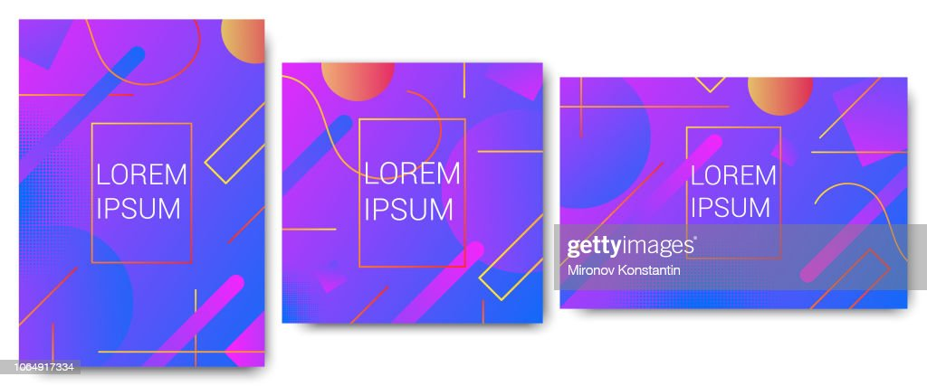 Creative abstract minimal design geometric pattern  background or wallpaper set. Trendy, colorsul vibrant gradient shapes composition texture. Tree version of formats: vertical, horisontal, square.