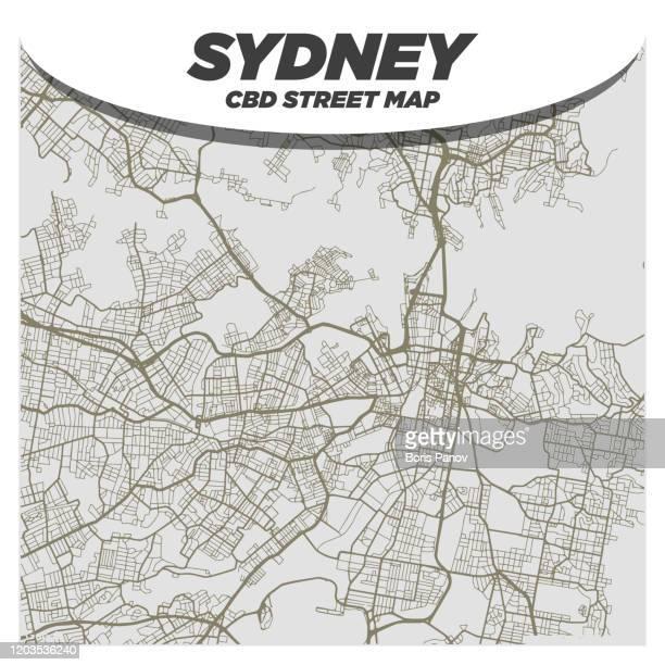 creative and bold black & white city street map of sydney australia cbd central downtown district - sydney stock illustrations