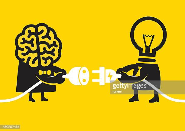 creative and smart connection | yellow business concept - wisdom stock illustrations