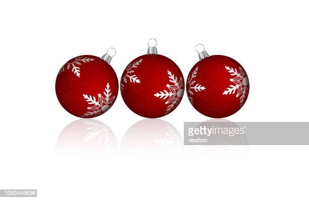 A creative arrangement of three red merry christmas baubles design  with silver white coloured snowflakes - vector Illustration. Over white. Shadows