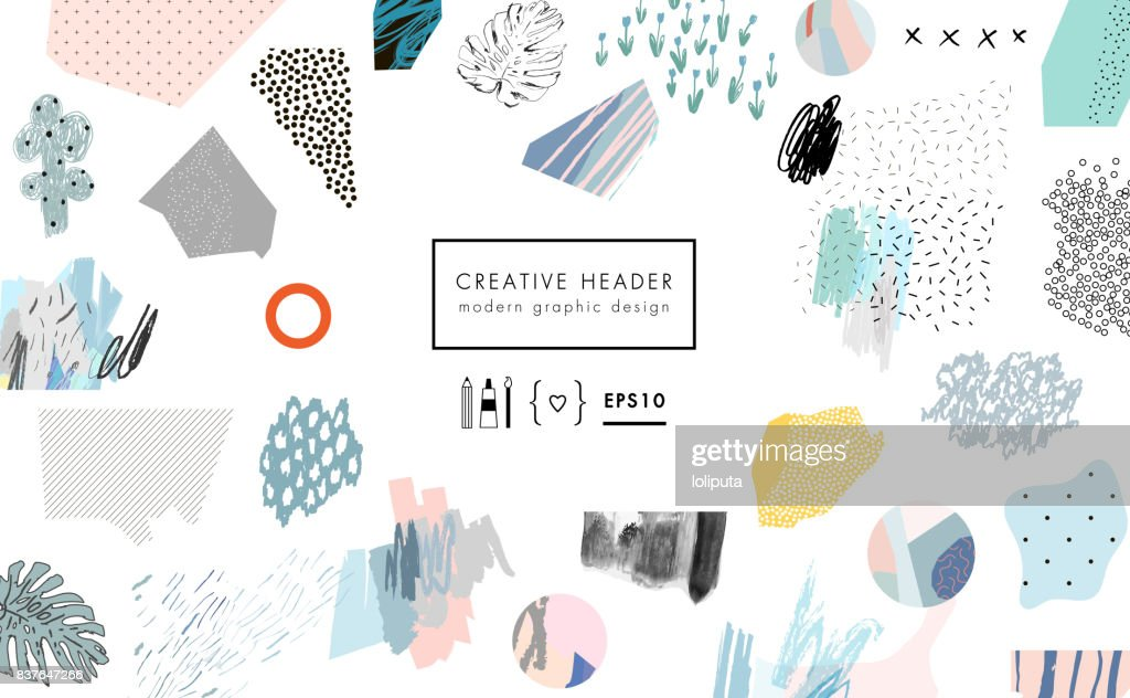 Creative art background with different shapes and textures.