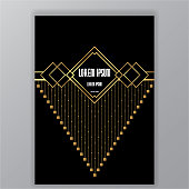 Creative art deco page, golden chains and squares with rectangle template