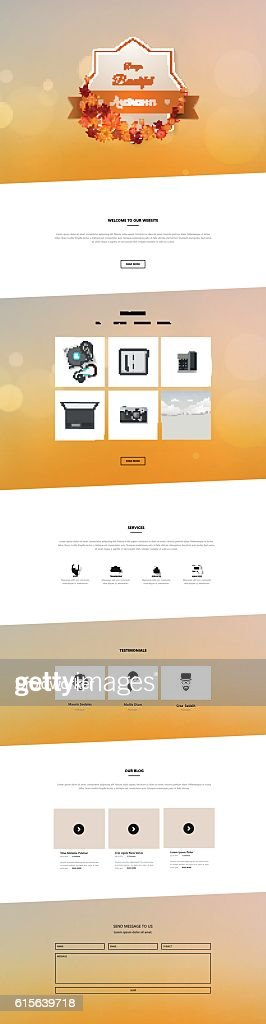 Creative Autumn theme website template design vector