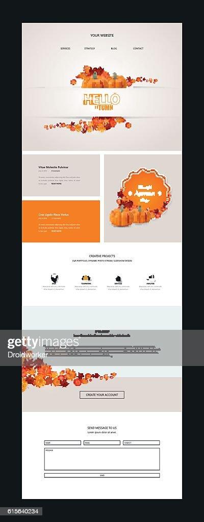 Creative Autumn theme website template design vector
