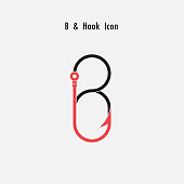 Creative B- Letter icon abstract and hook icon design vector template.Fishing hook icon.Alphabet icon.Vector illustration
