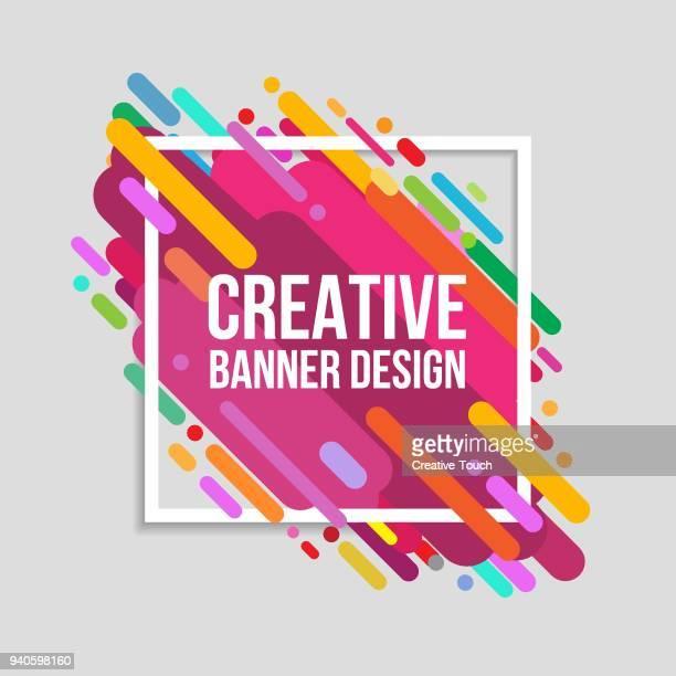 ilustraciones, imágenes clip art, dibujos animados e iconos de stock de creación banners - cepillar