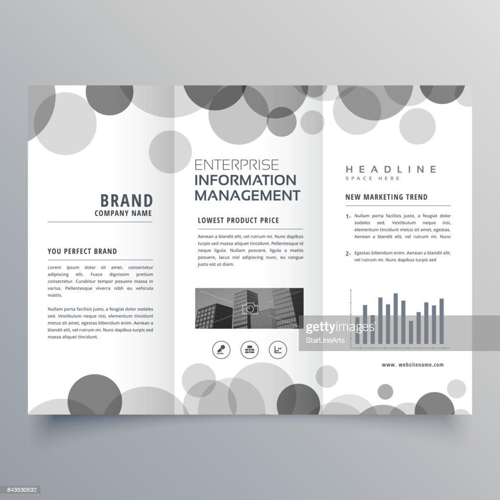 creative black circle trifold brochure design template