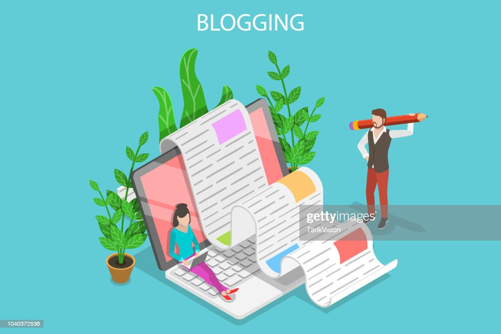 Creative blogging isometric flat vector conceptual illustration.