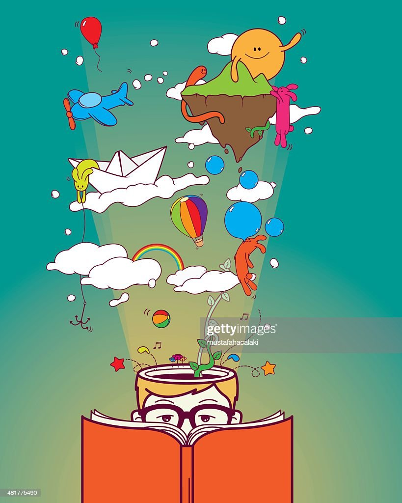Creative boy reading and dreaming : stock illustration