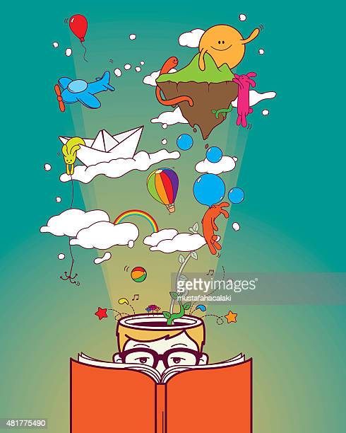 creative boy reading and dreaming - book stock illustrations