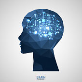 Creative brain concept background with triangular grid.
