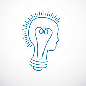 Creative brain concept, intelligent person vector symbol. Light bulb in a shape of child head profile. Bright mind, thinking and brainstorming idea icon.