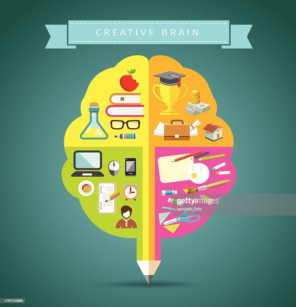 Creative Brain concepts design with business icons