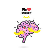 Creative brain icon design vector template with small hand.