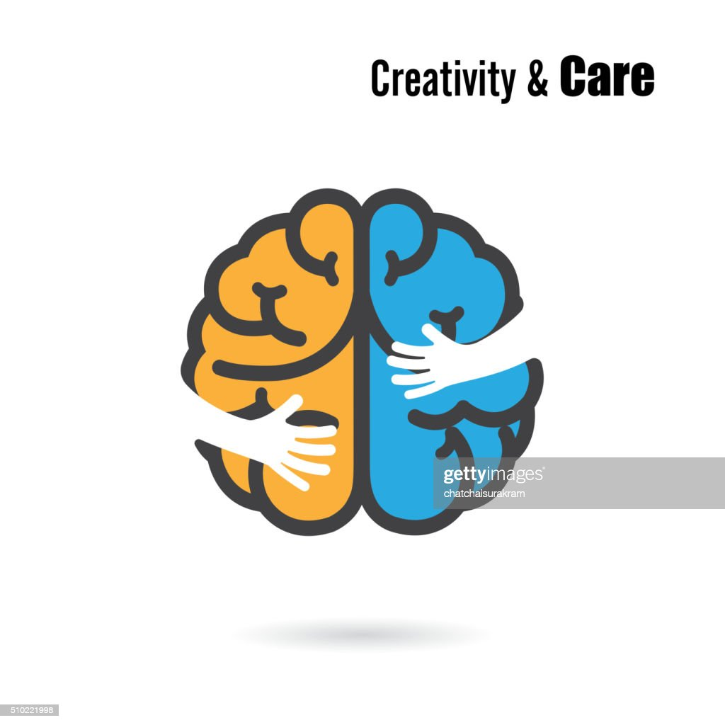 Creative brain icon design with small hand