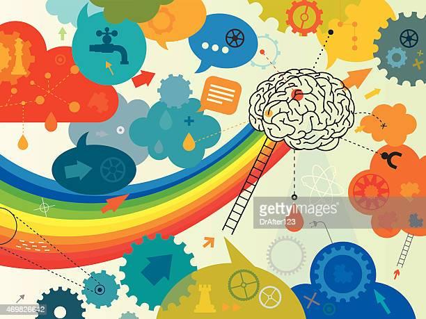 creative brain - sensory perception stock illustrations