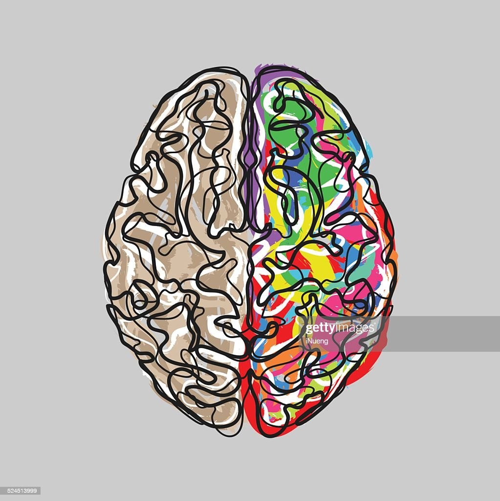 Creative Brain With Color Strokes Vector Art