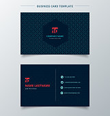 Creative business card and name card template dark blue color modern with square octagon and circle pattern abstract concept and commercial design.