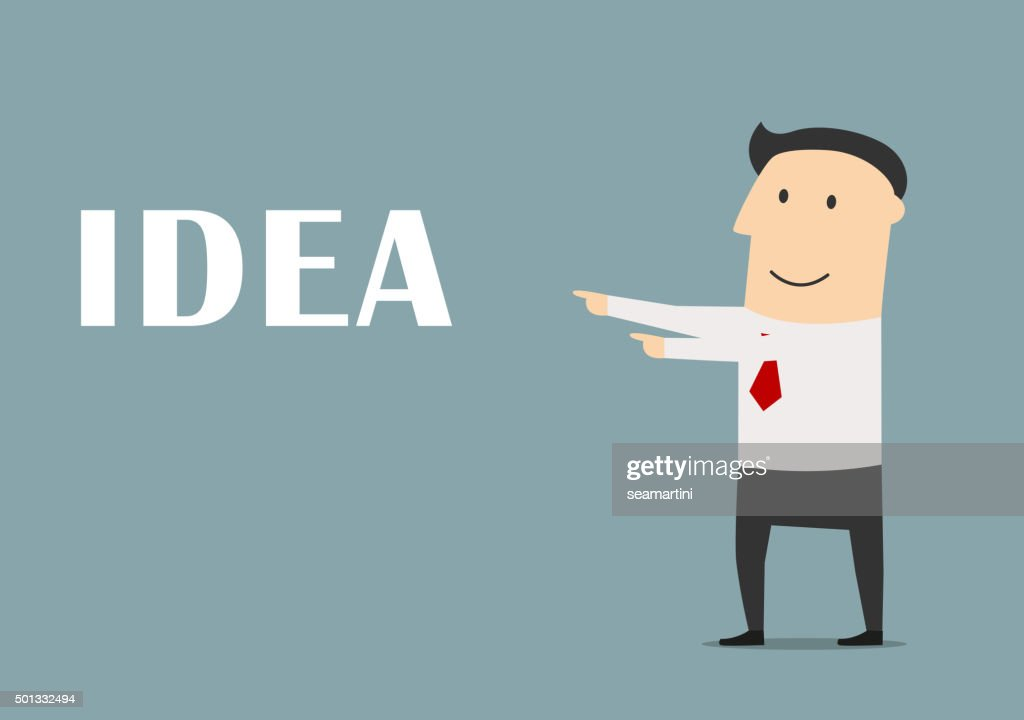 Creative businessman pointing to idea