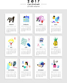 Creative Calendar 2017. Template with different textures
