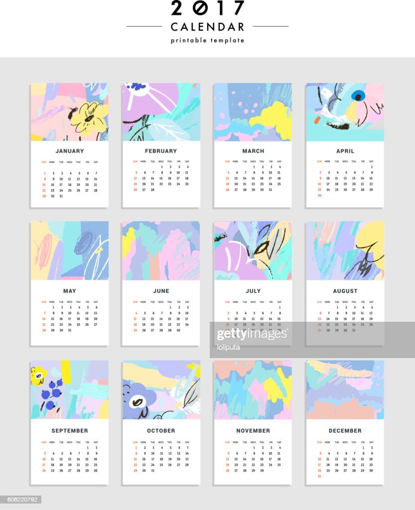 Creative Calendar 2017 Template With Leaves And Flowers Vector