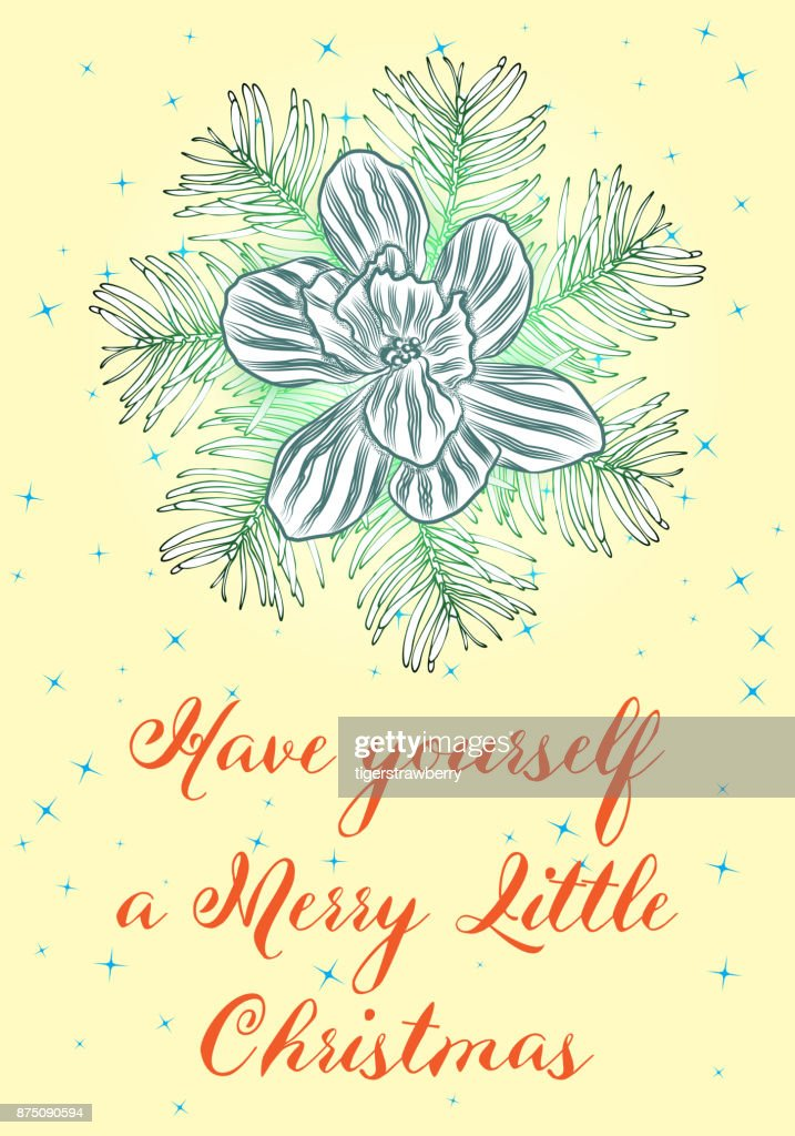 Creative card or poster for Christmas illustration. Template for Greeting flyer, Congratulations, Invitations. Hand drawn vector.