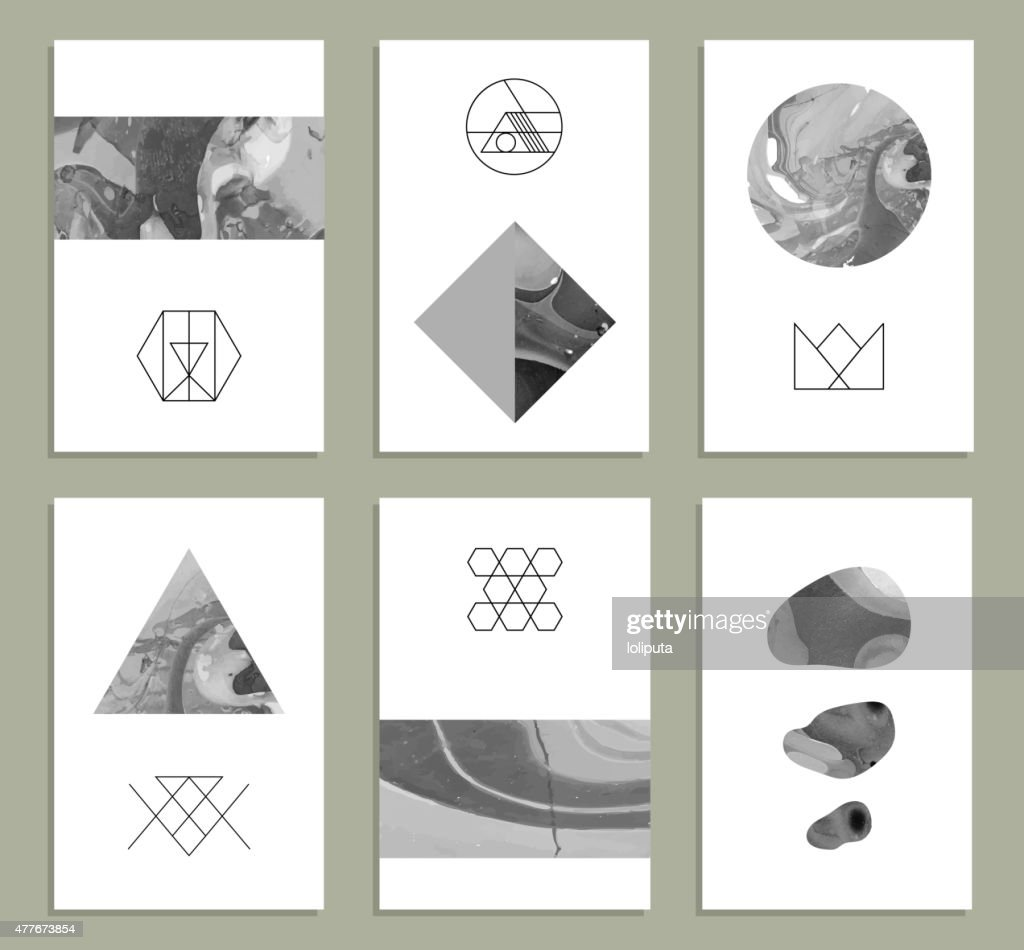Creative cards. Abstract painting templates with hipster logotypes.