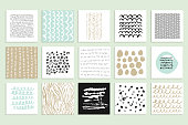 15 creative cards. Hand Drawn textures made with ink.
