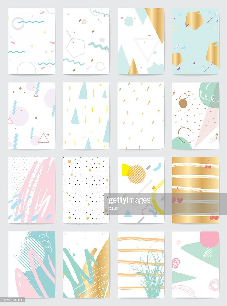 Creative cards with abstract geometric backgrounds