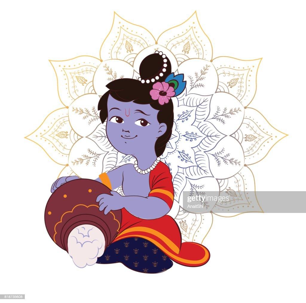 Creative cartoon illustration,poster or banner for indian festival of janmashtami celebration