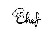 Creative Chef Hat Symbol Text Font Letter logo Vector Design Illustration