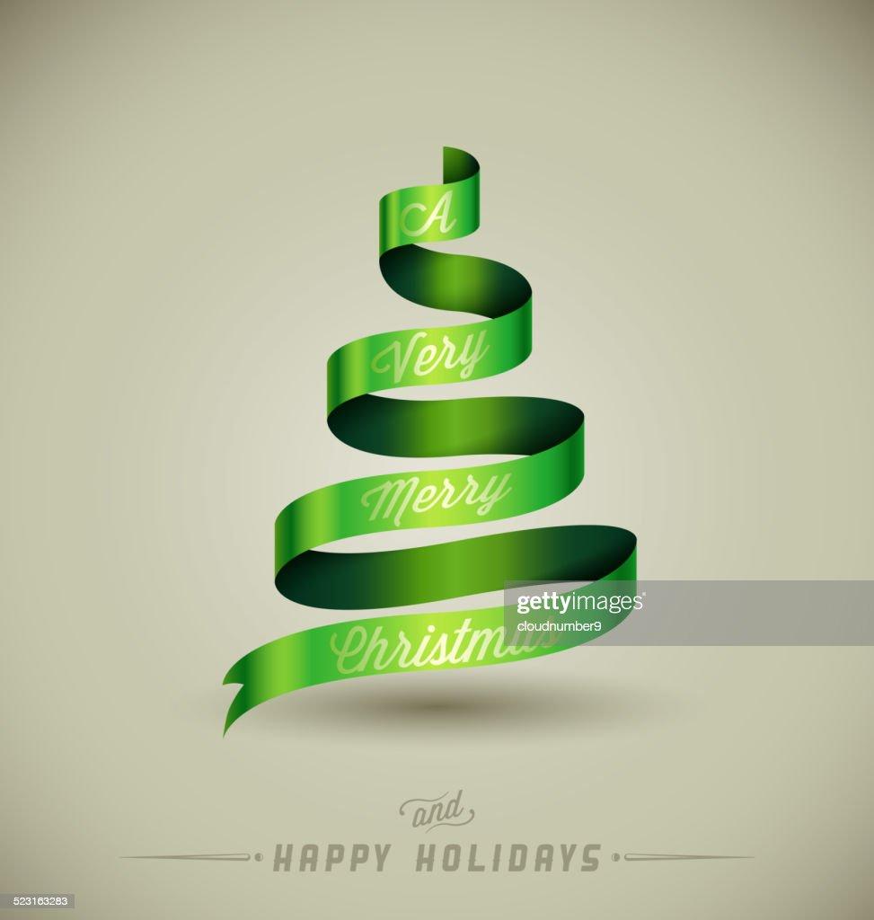 Creative Christmas Tree A Very Merry Christmas Massage Over Green ...