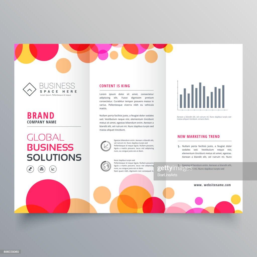 creative circles tri fold brochure template design for business presentation