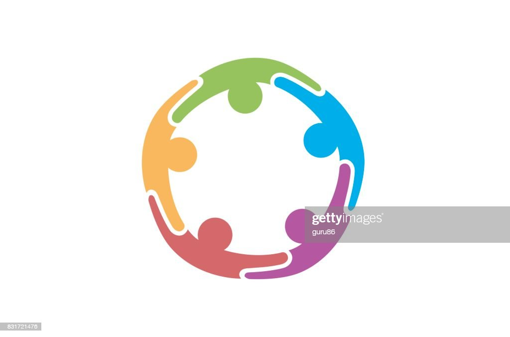 Creative Colorful Five Abstract People Symbol Design