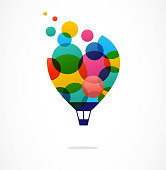 Creative colorful icon, hot air balloon
