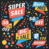 Creative colorful vector badges and sale labels set