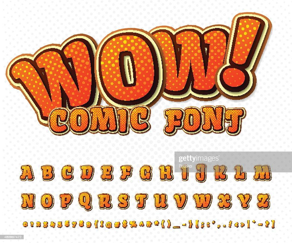 Creative comic font. Vector alphabet in style pop art