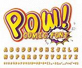 Creative comic font. Vector alphabet in style pop art