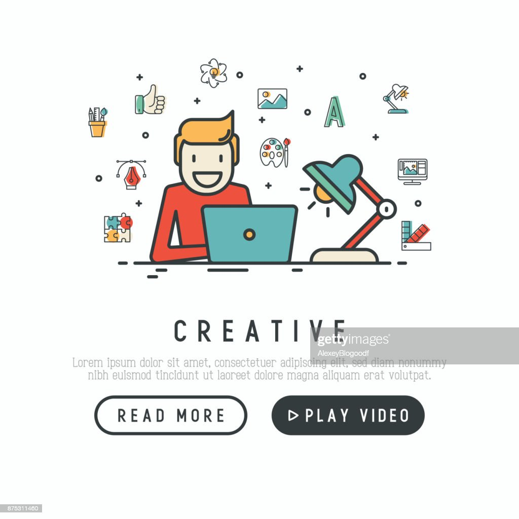 Creative concept with thin line icons: designer is working overtime on laptop. Modern vector illustration for banner, web page, print media.