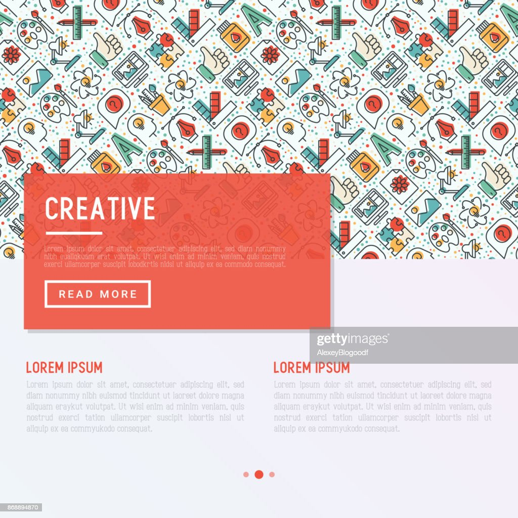 Creative concept with thin line icons of idea, puzzle, color palette, brushes, creative vision, development design. Vector illustration of banner, web page, print media.